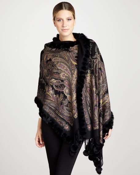 Reversible Printed Cashmere Stole, Black