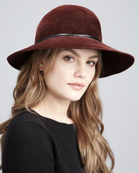 Moxi Lightweight Velour Hat, Burgundy
