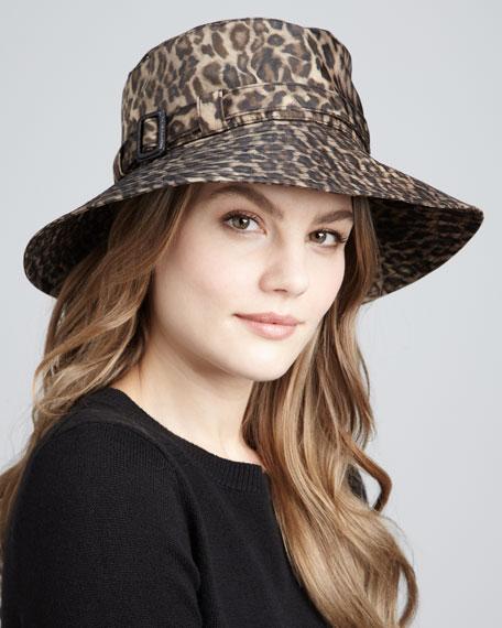 Leopard-Print Microfiber Rain Hat