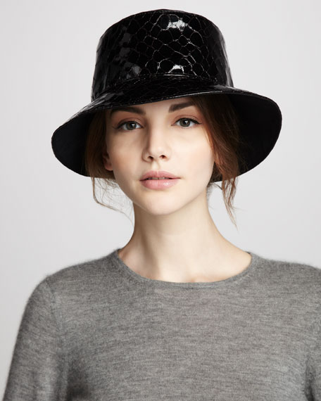 Croc-Embossed Faux-Patent Rain Hat