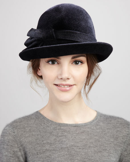 Amy Lightweight Velour Bowler Bag Hat