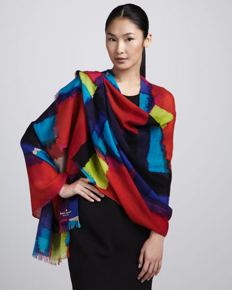 abstract-print merino scarf