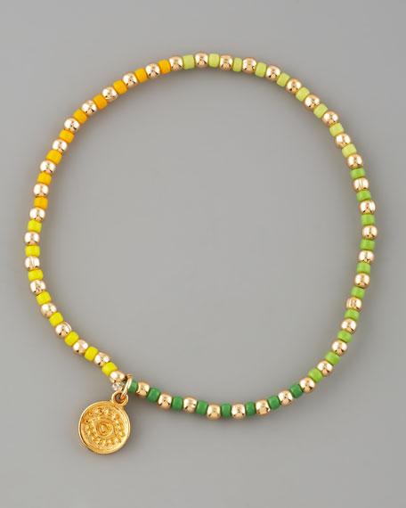 Beaded Elastic Bracelet, Yellow/Green