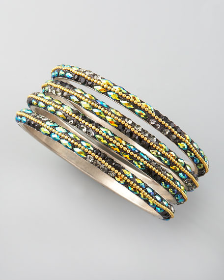 Iridescent Crystal Bangles, Set of Four