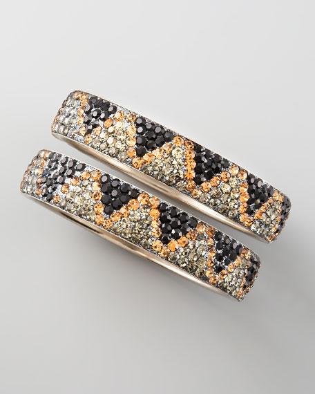 Pave Crystal Bangles, Set of Two