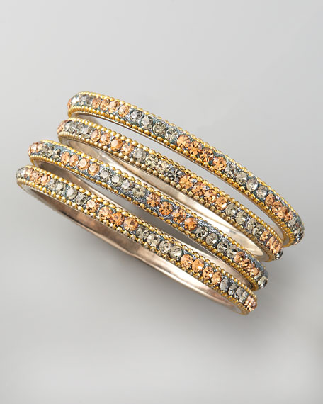 Pave Crystal Bangles, Set of Four