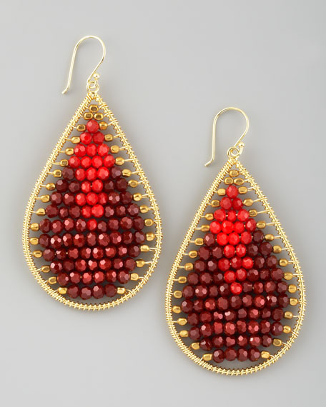 Beaded Teardrop Earrings, Red/Brown