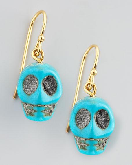 Skull Earrings, Turquoise