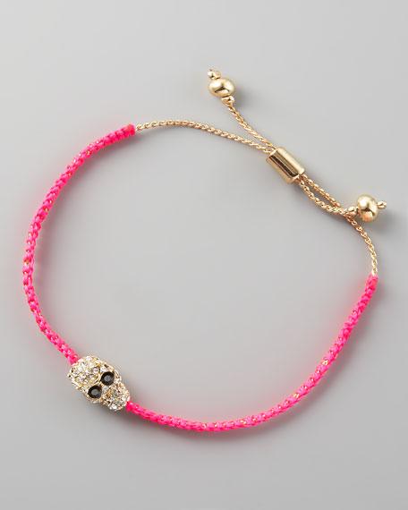 Skull-Charm Cord Bracelet, Pink