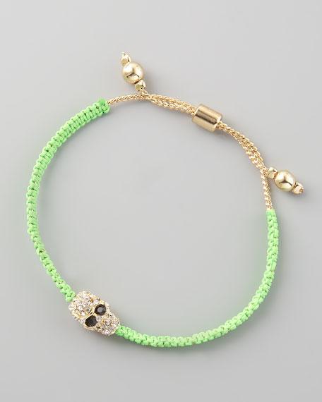 Skull-Charm Cord Bracelet, Green