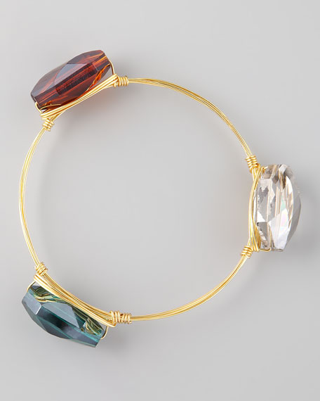 Crystal-Station Wire Bangle, Smoky/Amber/Green