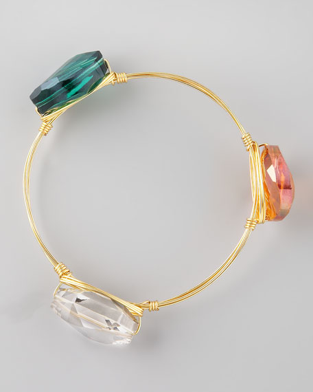 Crystal-Station Wire Bangle, Smoky/Orange/Green