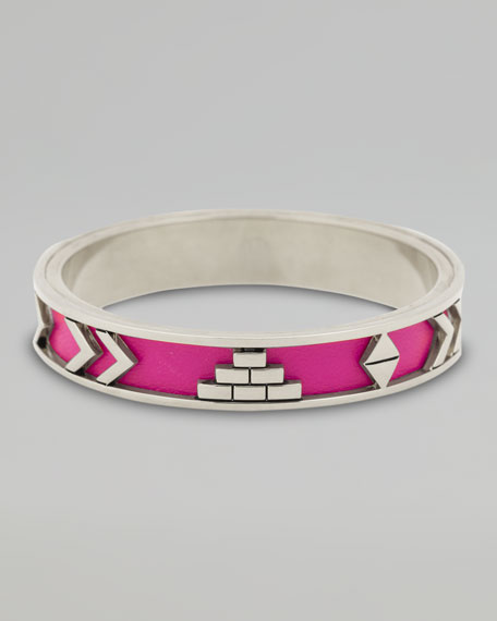 Leather Tribal Bangle, Fuchsia