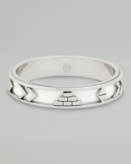 Leather Tribal Bangle, White