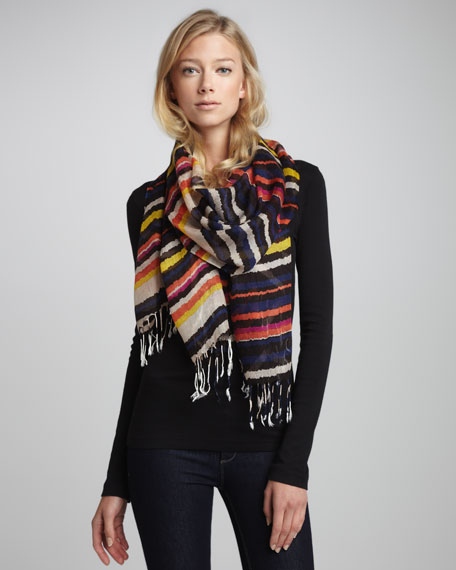 Striped Voile Scarf