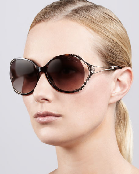 Open-Temple Snake-Print Sunglasses, Havana/Rose Golden