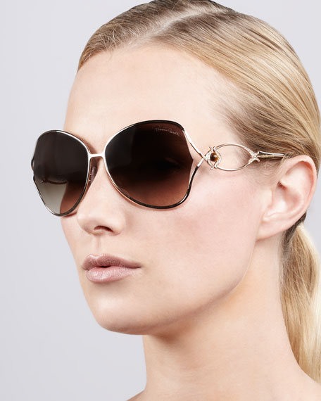 Open-Temple Butterfly Sunglasses, Metal Brown