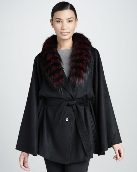 Feathered Fox Fur-Collar Cashmere Cape, Burgundy/Black
