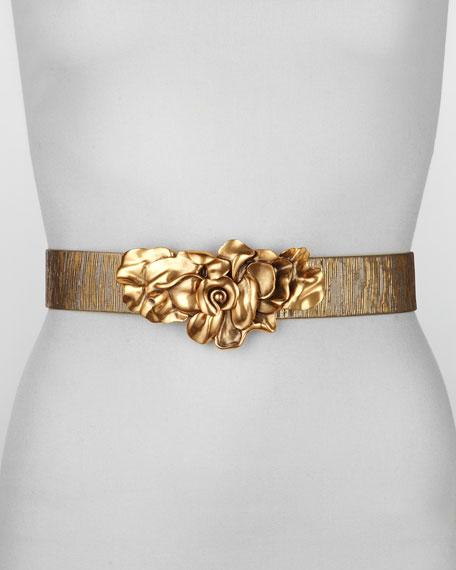 Metallic Floral-Buckle Belt