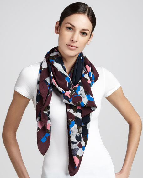 Visconti Bloom Silk Crepe Scarf