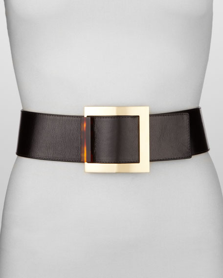 Square-Buckle Leather Belt, Toffee