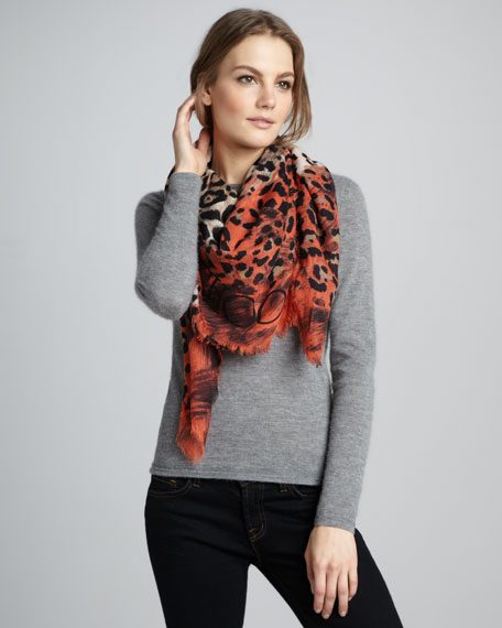 Shira Animal-Print Cashmere Gauze Scarf, Tangerine
