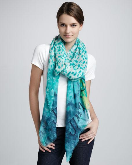 Shira Animal-Print Cashmere Gauze Scarf, Turquoise