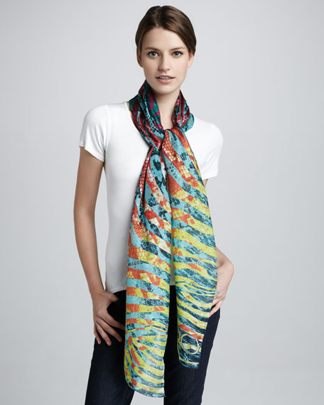 Siracusa Python-Print Cashmere Scarf, Multicolor