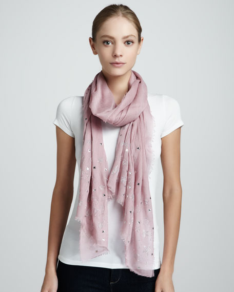 Sketch Star-Beaded Scarf, Peony