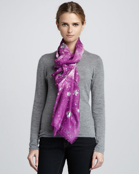 Stellina Constellation-Print Scarf, Orchid