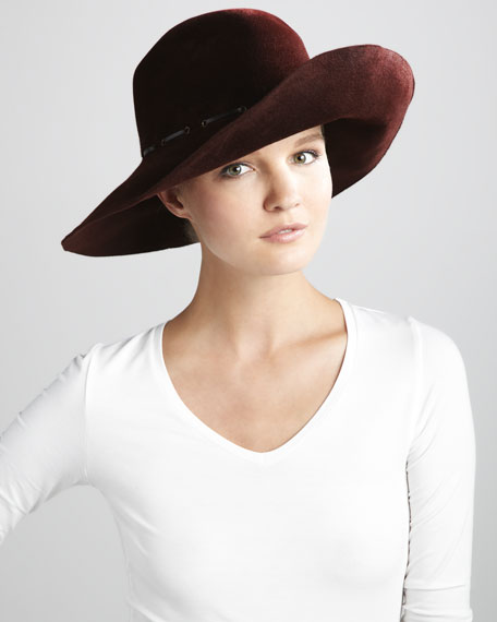 Victoria Rabbit Felt Hat, Burgundy