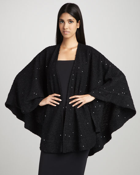 Sequined Boucle Cape, Black