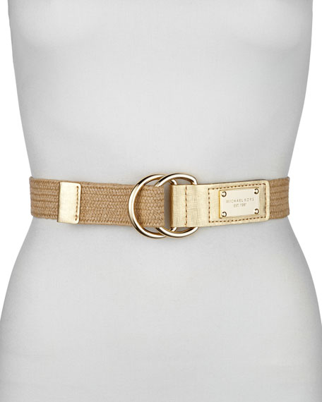 Stretch Straw and Leather Belt