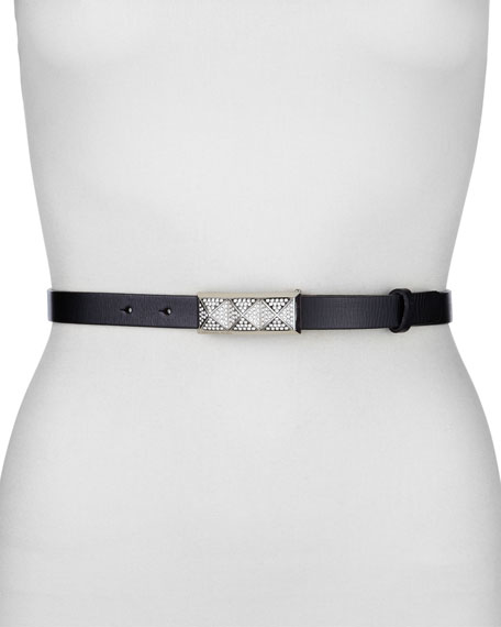 Vintage Leather and Crystal Skinny Belt