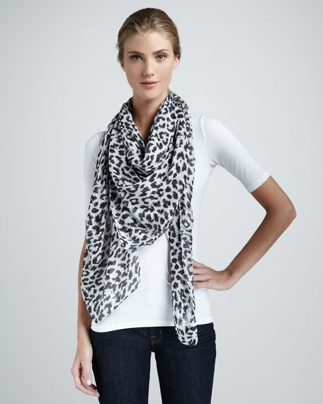 Angry Leopard-Print Scarf, Black/White