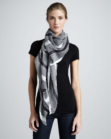 Dot & Stripe Scarf, White/Black