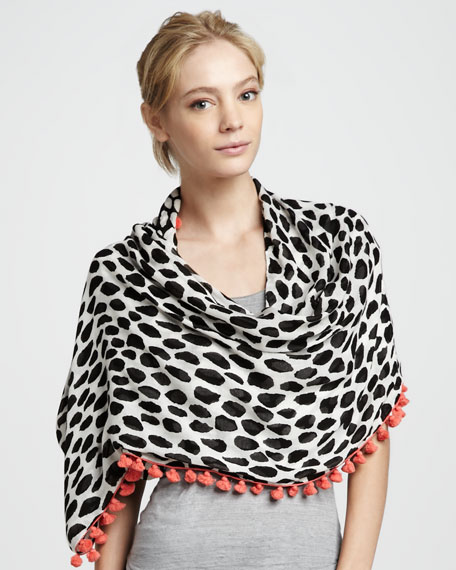 Animal Dots Pompom-Trim Scarf