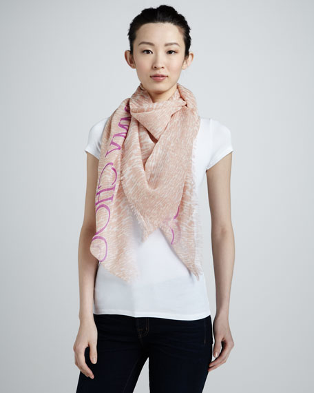 Sorento Animal-Print Scarf, Blush/White