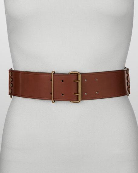 Studded Leather Belt, Moka