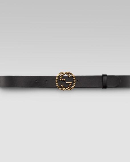 GG Buckle Leather Belt, Nero