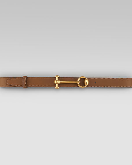 Round-Buckle Leather Belt, Acero