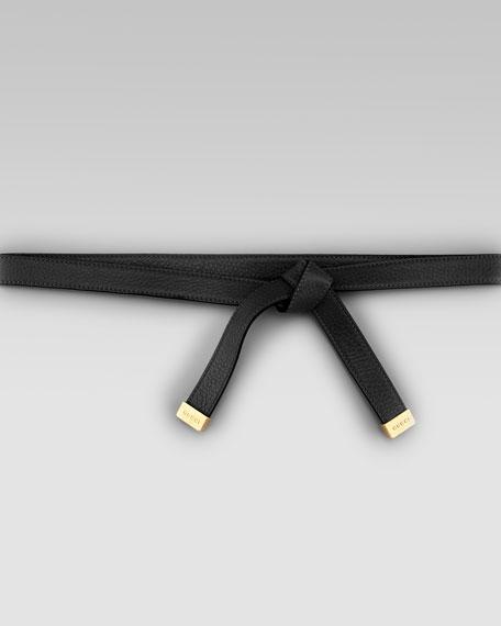 Leather Self-Tie Belt, Nero
