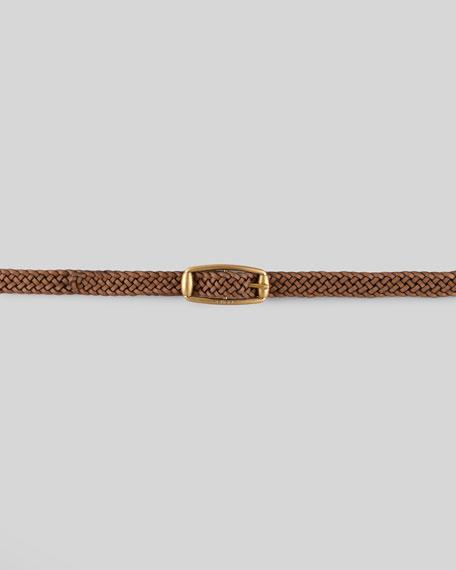 Braided Leather Belt, Acero