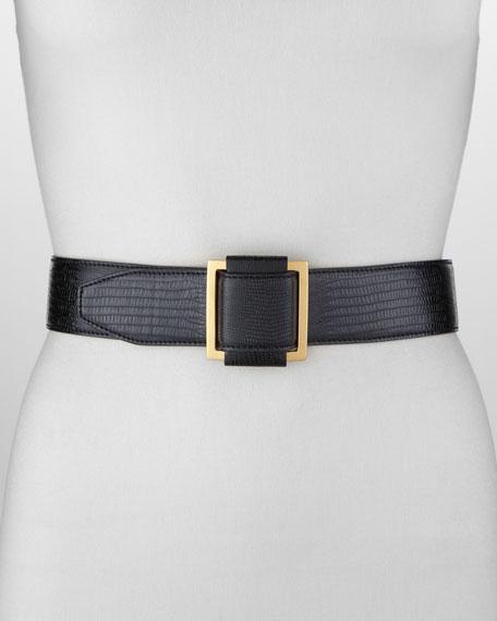 Lizard-Embossed Faux-Leather Belt, Black