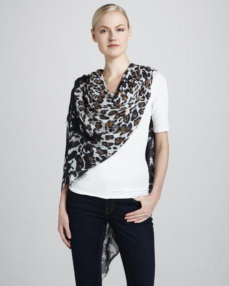 Leopard-Print Voile Scarf