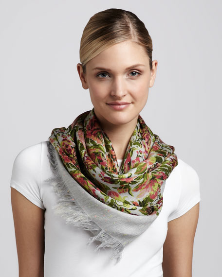 Metallic Threaded Floral-Print Scarf, Pink/Green