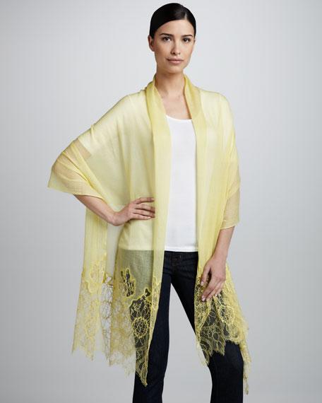 Lace-Inset Wool Shawl, Citrine Lemon