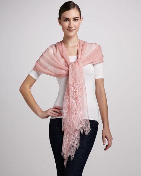Lace Wool Shawl, Rose Pink