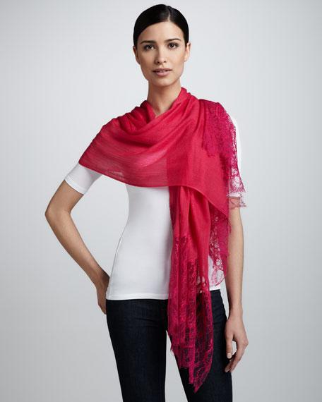 Lace-Inset Wool Shawl, Fuchsia