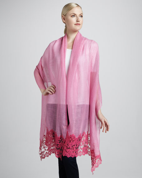 Romantic Lace Floral Shawl, Pink